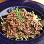 Weeknight Ground Beef Stroganoff with Rosemary, Yogurt and Mushrooms