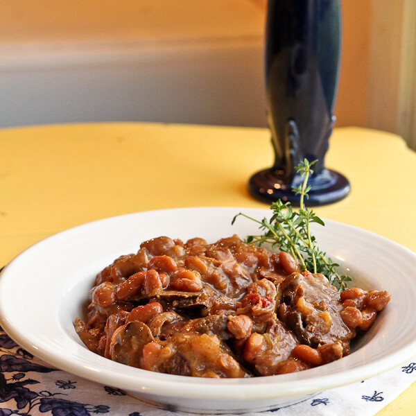 Beef Braised in Beer, Beans and Mushrooms
