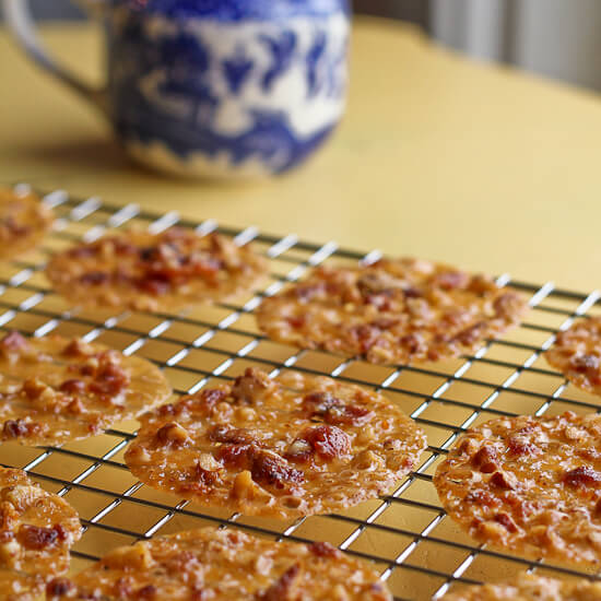 Bacon Lace Cookies with Pecans