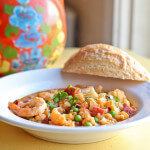 Spanish Inspired Soup of Cauliflower, Peas and Shrimp with Chorizo and Smoked Paprika