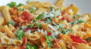 Pasta with Melon, Bacon and Shredded Cheese