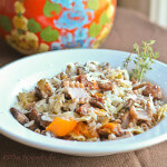Farro Pasta with Mushrooms, Apples and Sausage