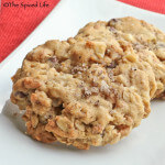 Oatmeal Cookies with Cocoa Puffed Rice Cereal, Coconut Flakes and White Chocolate Chunks