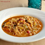 Moroccan Mixed Vegetable and Garbanzo Stew with Harissa