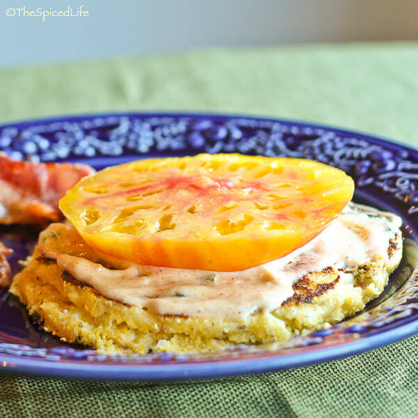 Sliced Tomato on Corn Flatbread with Bacon Basil Mayonnaise