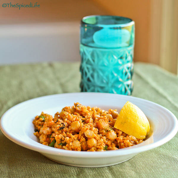 Garbanzos, Farro and Bulghur in Carrot Pistachio Pesto