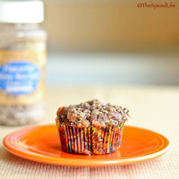 Dark Chocolate Muffins Topped with Pecan-Cookie Streusel