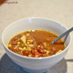Brothy Chicken Soup with Mexican Spices, Heirloom Beans and Corn