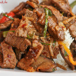Stir Fried Beef with Peppers, Mushrooms, Eggplant and Nam Prik Pao; Review of Everyday Thai Cooking