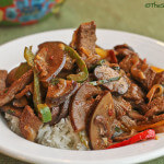 Thai Beef and Mushroom Stir Fry Flavored with Nam Prik Pao and Basil