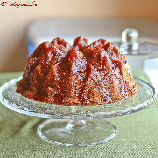 Spiced Orange Buttermilk Bundt Cake with Strawberry Jam Glaze