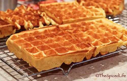 Waffles made with milk and sour cream, with whole grain flour
