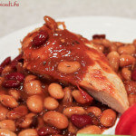 Bourbon Bacon Beans over Seared and Baked Chicken Breasts