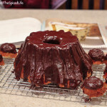 Chocolate Draped Bundt in shape of a tree stump