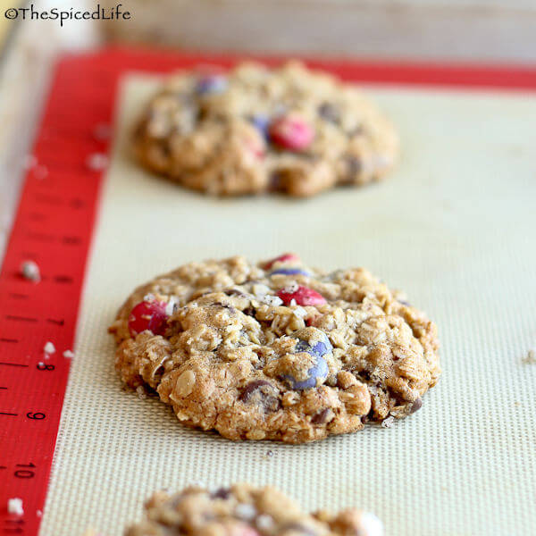 Valentine's M&M Cookies with Rolled Oats