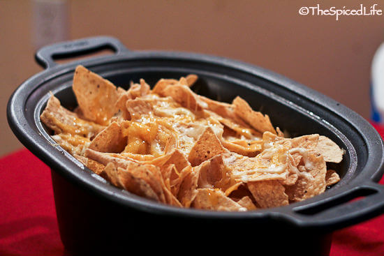 Smoky Beef Brisket and Bean Chili Topped with Nachos for the Slow Cooker