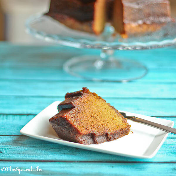 Lemon quick bread baked in a bundt pan and made with agave syrup