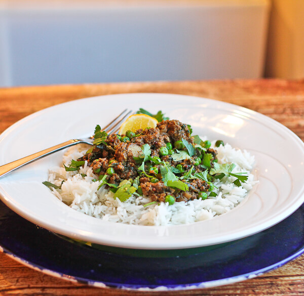 Kheema (Indian Ground Mushroom-Beef Curry) with Kale and Peas