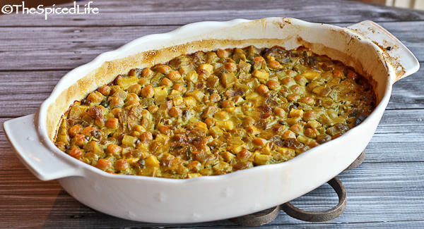 Casserole of Curried Chickpeas and lentils with Green Mango