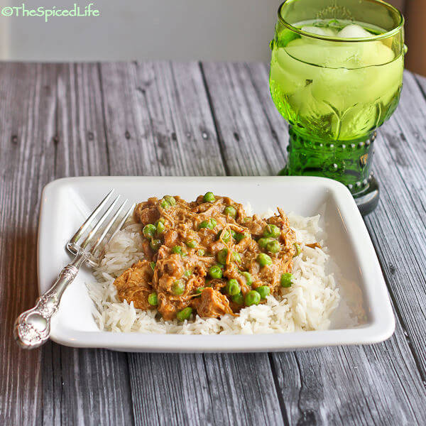 Chicken Braised in Indian Almond Sauce with Peas