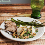 Rosemary Mustard Pork Tenderloin and Pasta with Mushrooms and Peas: Review of The Glorious Vegetables of Italy