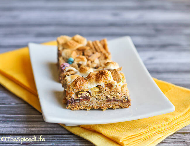S'Mores M&M Bars made with Graham Cereal