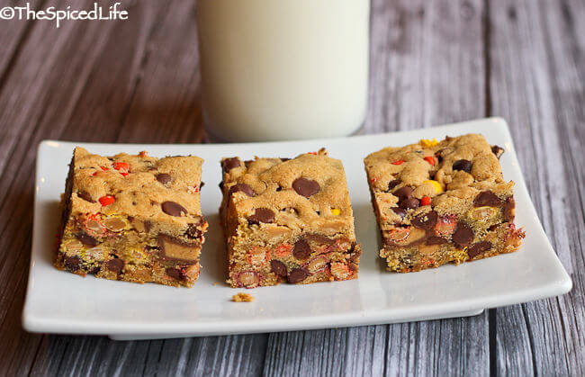 Best Peanut Butter Blondies with Reese's Cups, Reese's Pieces, Chocolate Chips and Peanut Butter Chips