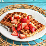Ricotta-Yogurt Waffles Topped with Strawberries Lightly Macerated in Sugar
