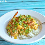 Onion Braised Shrimp and Peas in crockpot; review of The Healthy Slow Cooker, Second Edition