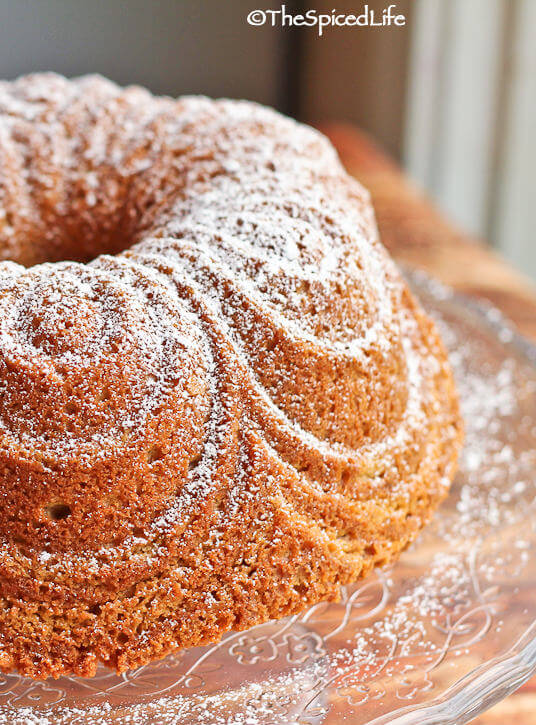Chocolate and Vanilla Marbled Pound Cake in a Bundt Pan