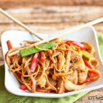 Noodles and Veggies Stir Fried in an Asian Peanut Butter Sauce