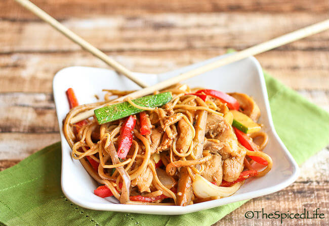 Noodles and Vegetables Stir Fried with a Asian Inspired Peanut Butter Sauce