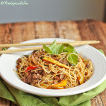 Thai Stir Fried Angel Hair Noodles with Ground Beef, (Chile or Bell) Peppers, Garlic and Basil