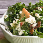 Kale Salad with Peaches and Blue Cheese