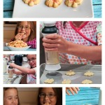 Kids using OXO cookie press