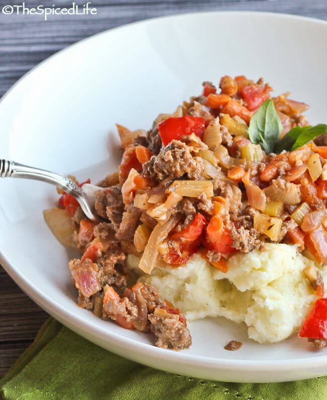 Inverted Shepherd's Pie: Ground Beef with Dijon Mustard and Veggies on Smashed Potatoes