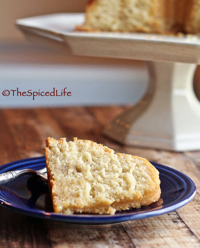 Kentucky Butter Cake: a rich vanilla flavored pound cake soaked in a butter sugar syrup