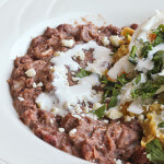 Traditional Refried Beans from SCRATCH served with Chilaquiles Verde