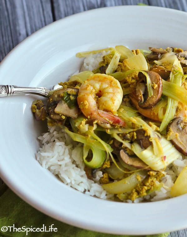 Thai Shrimp and Mushroom Curry Stir Fry with Shredded Celery