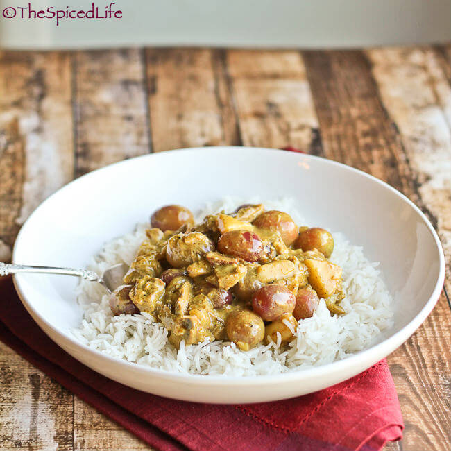 Irish Style Curry with Pulled Pork, Grapes and Peaches