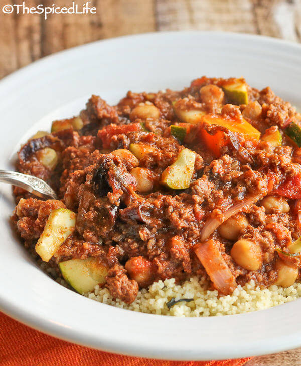 Moroccan Influenced Chili with Chickpeas over Minted Couscous