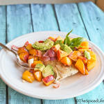 Mahi Mahi Roasted Over Peaches and Nectarines: choose any white fish and roast it over seasonal fruit!