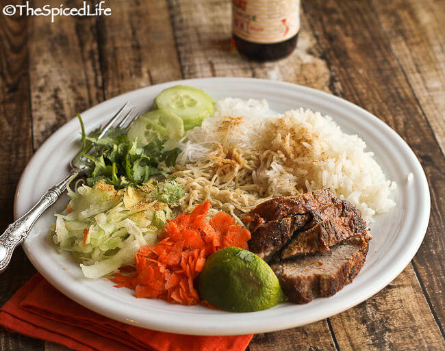 Noodle Salad from Myanmar with Fish Sauce and Roasted Pork