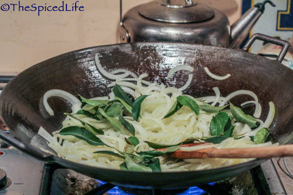 Stir Frying Onions and Curry Leaves