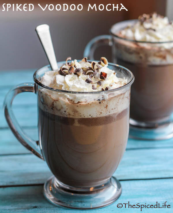 Spiked Voodoo Mocha: rum, coffee, chocolate and cream make for a delightful winter drink!