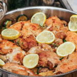 Gorgeous ONE POT Lemon Chicken with Zucchini and Mushrooms inspired by the Amalfi Coast!
