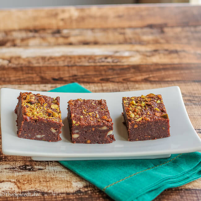 Flourless Fudgy Brownies with Pistachios and Macadamia Nuts