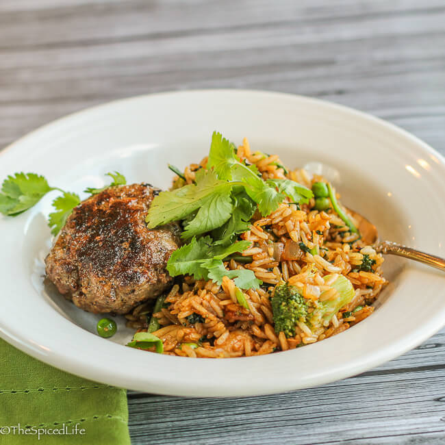 Thai Burgers with Mushroom-Broccoli Fried Rice--great fast, easy, delicious dinner!