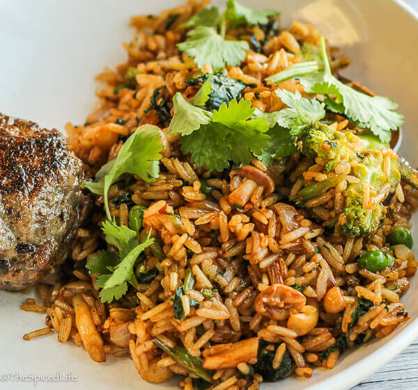 Mushroom-Broccoli Fried Rice--an excellent easy side dish for Thai protein-centric entrees