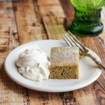 Matcha and Chia Mochi Cake: ground Japanese green tea and ground chia seeds flavor this rice and coconut milk cake. Simple and delicious!